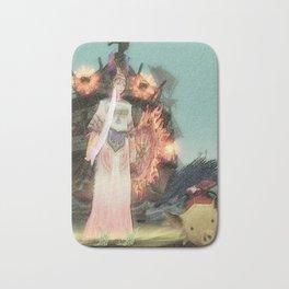 Warrior girl and yellow pig Bath Mat