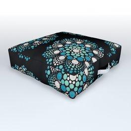 Blue Flower Mandala Outdoor Floor Cushion