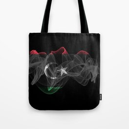 Libya Smoke Flag on Black Background, Libya flag Tote Bag