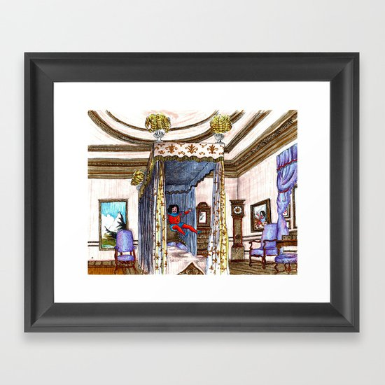 King Charles II jumping on his bed.  Framed Art Print