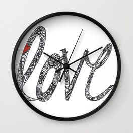Love Zentangle  Wall Clock