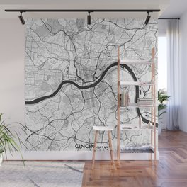 Cincinnati Map Gray Wall Mural