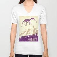 the hobbit V-neck T-shirts featuring The Hobbit by WatercolorGirlArt