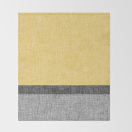 Yellow Grey and Black Section Stripe and Graphic Burlap Print Throw Blanket