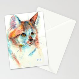 Bicolor cat portrait Stationery Cards