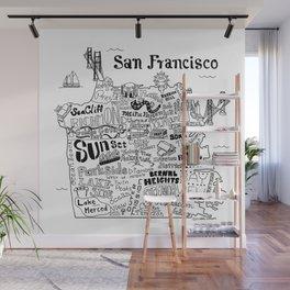 San Francisco Map Illustration Wall Mural