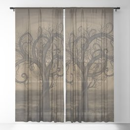 Golden Spiral Tree Sepia Sheer Curtain