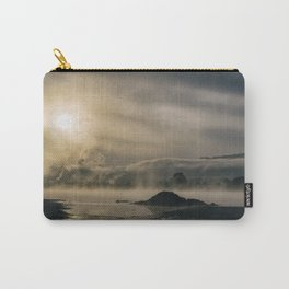 Mysterious landscape at sunrise with sunlight and haze Carry-All Pouch