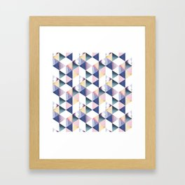 Watercolor geometric pastel colored seamless pattern Framed Art Print