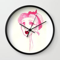 rockabilly Wall Clocks featuring Rockabilly Pink by Ajhasse