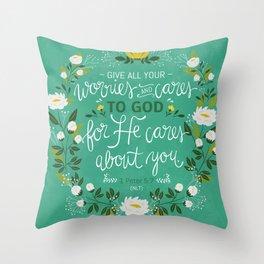 1 Peter 5:7 NLT Throw Pillow