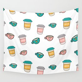 Happy coffee cups and mugs Wall Tapestry