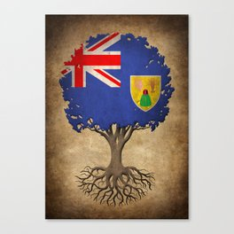 Vintage Tree of Life with Flag of Turks and Caicos Canvas Print