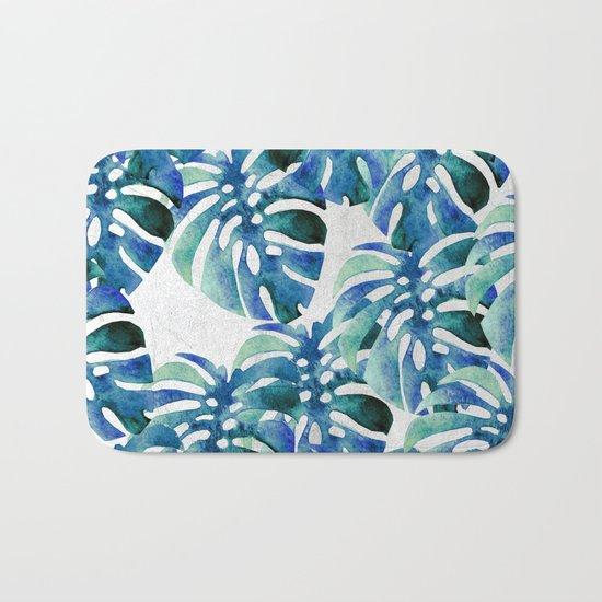 Monstera Pattern Green And Blue Bath Mat