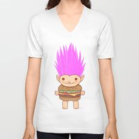 hamburger V-neck T-shirts featuring  Hamburger Troll by Noel ILL Art
