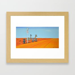 Aussie Outback Bus Stop Framed Art Print