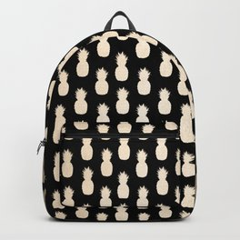 Gold Pineapples Pattern Black Backpack