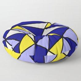Geometric Scandinavian Design II - Navy, Blue, Yellow and White Floor Pillow