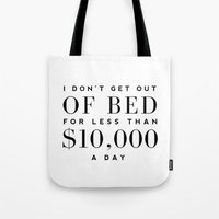 bed Tote Bags featuring BED by I Love Decor