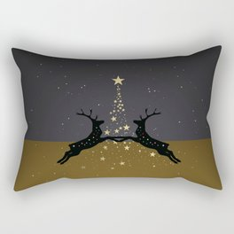 Champagne Gold Star Christmas Tree with Magical Reindeers - Cozy Brown Rectangular Pillow