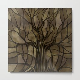 Mystic Tree of Life Mosaic Golden Sepia Metal Print