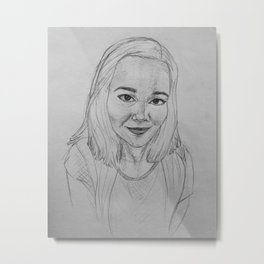 self portrait study in graphite Metal Print