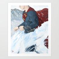 man of steel Art Prints featuring Man of Steel by Berkay Daglar