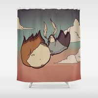 skyfall Shower Curtains featuring SkyFall by Bright Raven Designs