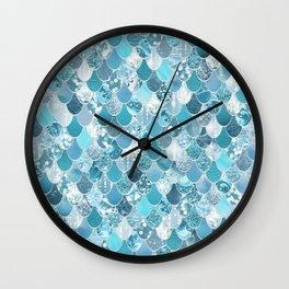 Mermaid Art, Cute Teal and Aqua, Fun Bathroom Art Wall Clock