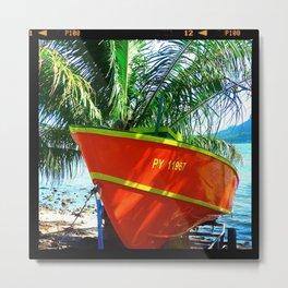 Orange Boat Metal Print
