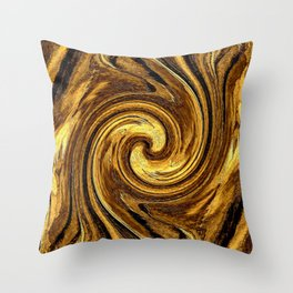 Gold Brown Abstract Sun Rotation Pattern Throw Pillow