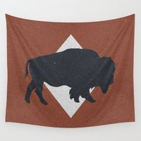 bison Wall Tapestries featuring Bison & Blue by Zeke Tucker