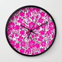 flower pattern Wall Clocks featuring Flower Pattern  by Sammycrafts