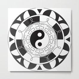 Om Yin Yang Mandala Metal Print