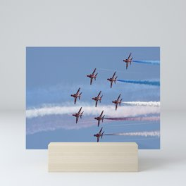 The Red Arrows flying in formation Mini Art Print