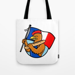 French Eagle Holding Flag and Baguette Cartoon Tote Bag