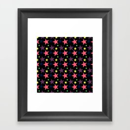 Happy Stars on Black Framed Art Print