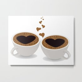 Coffee Cups of Love with Hearts Metal Print