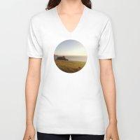 big sur V-neck T-shirts featuring Big Sur Cows by M. Wriston