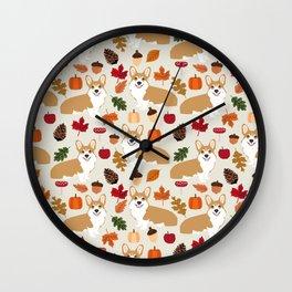 Corgi Autumn Fall woodland pillow phone case cute corgi design corgi dog pattern corgis love Wall Clock