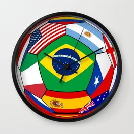 Ball With Various Flags Wall Clock