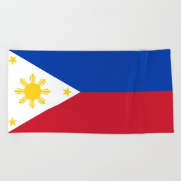 Republic of the Philippines national flag (50% of commission WILL go to help them recover) Beach Towel