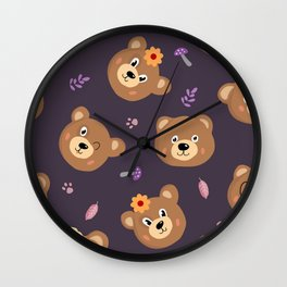 Bears & Mushrooms Pattern Wall Clock