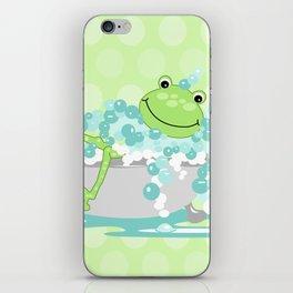Frog in BathTub Kids Shower Bathroom Art iPhone Skin