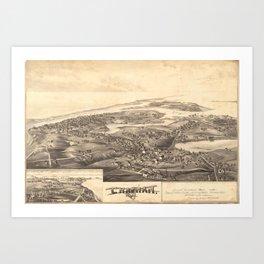 Vintage Pictorial Map of Chatham Massachusetts (1894) Art Print