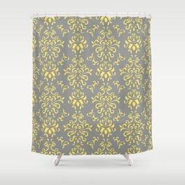 Damask Pattern in Grey and Yellow Shower Curtain