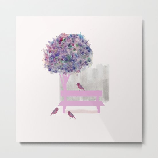 Park bench tree and birds Metal Print