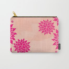 Pink Dahlias on Peach Carry-All Pouch