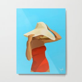 At The Beach: Red Suit Metal Print