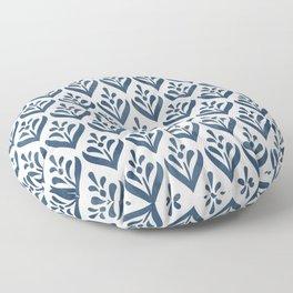Sealmess Cute Scandinavian Navy Blue White Folk Art Pattern Traditional Cultural Style Floor Pillow